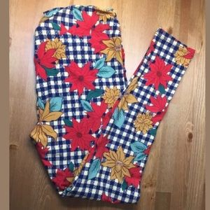 LuLaRoe TC Leggings Plus Christmas Red Poinsetta